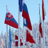 Maiden lippuja talvisella säällä