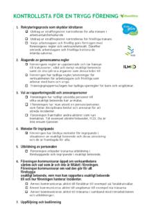 Första sidan av Kontrolllista för en trygg förening